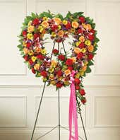 Multicolor Flower Standing Open Heart