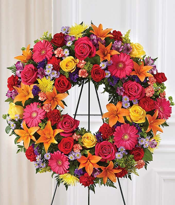 Bright Flowers Standing Wreath for Funeral