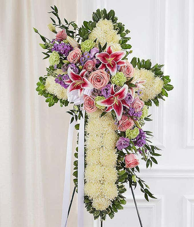 White and Pastel Flower Standing Spray
