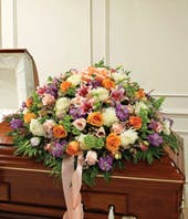 Pastel Mixed Flower Half Casket Cover