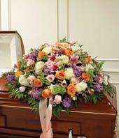 Pastel Mixed Flower Half Casket Cover