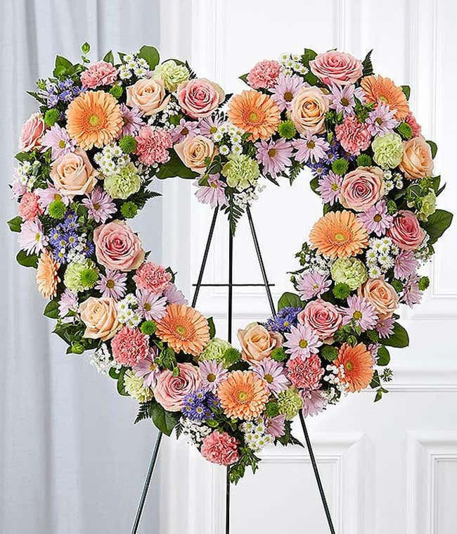 Pastel Floral Standing Open Heart