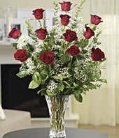 Classic Red Dozen Roses in Lenox vase