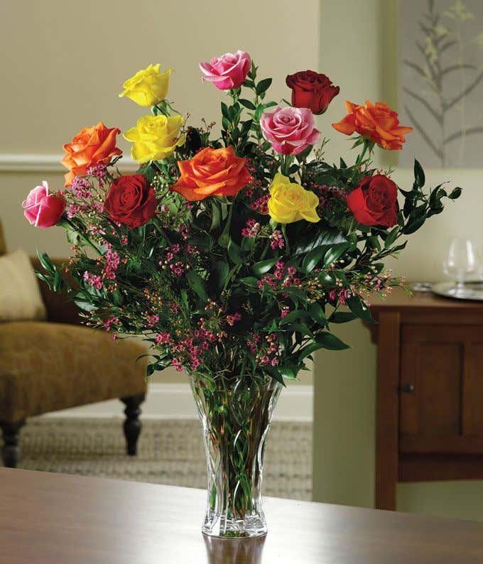 Mixed long stemmed rose bouquet