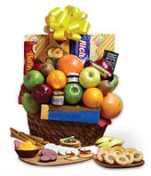 Fresh fruit and candy gift basket