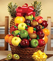 Fresh fruit basket with candy