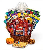 Sweets Basket With Chocolates Cookies And Candy Available For Delivery Same Day Super Sweet Snack Gift