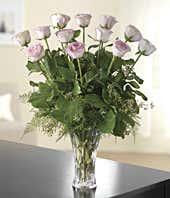 One dozen light pink roses
