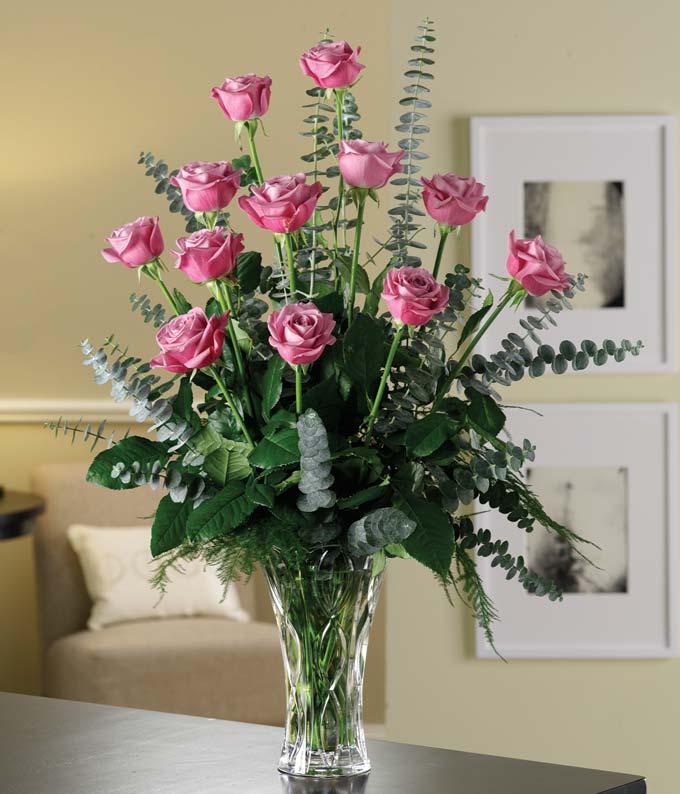 Long stemmed one dozen lavender roses