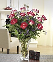 One dozen bi-color roses with Lenox� vase