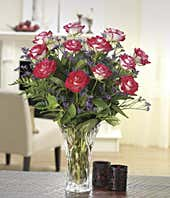 One dozen bi-color roses with Lenox® vase