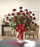 Two doze long stemmed red roses