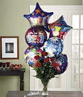 Congratulations balloons delivered with red roses