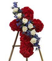 Red flower cross standing spray
