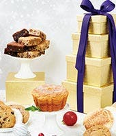 Golden Christmas Treat Tower