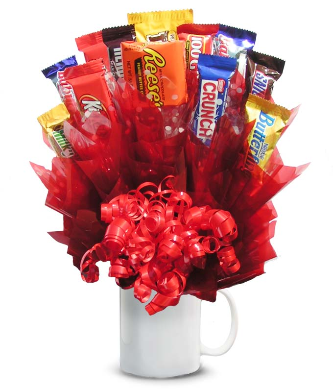 Candy bars delivered in a white mug
