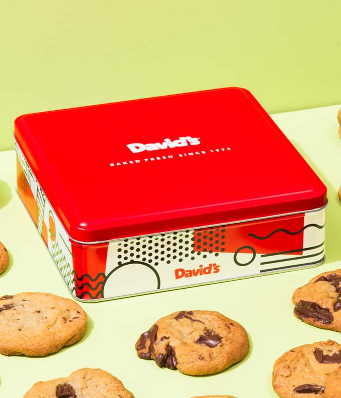 David's chocolate chunk cookie tin
