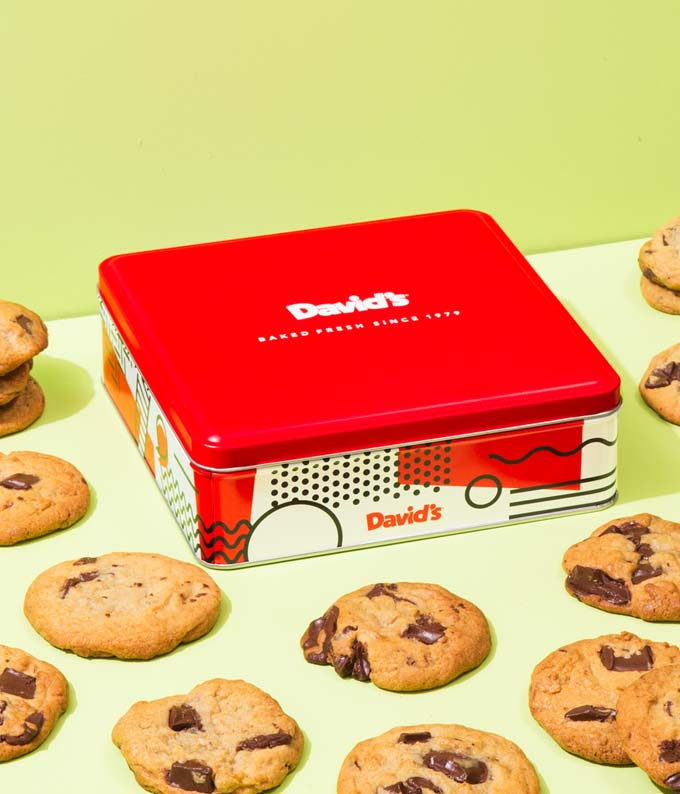 David's chocolate chip cookies delivered in red tin