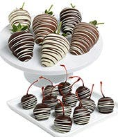 Chocolate Covered Strawberries and Cherries - 18 Pieces