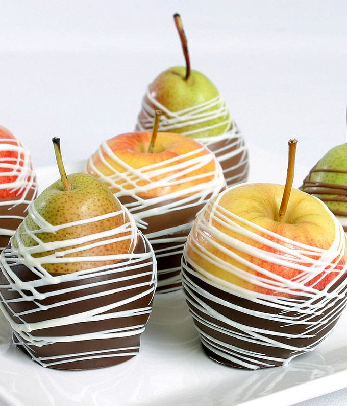 chocolate covered pears and chocolate covered apples