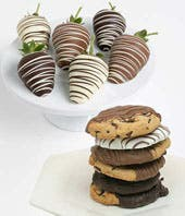 Strawberries and cookies dipped in chocolate