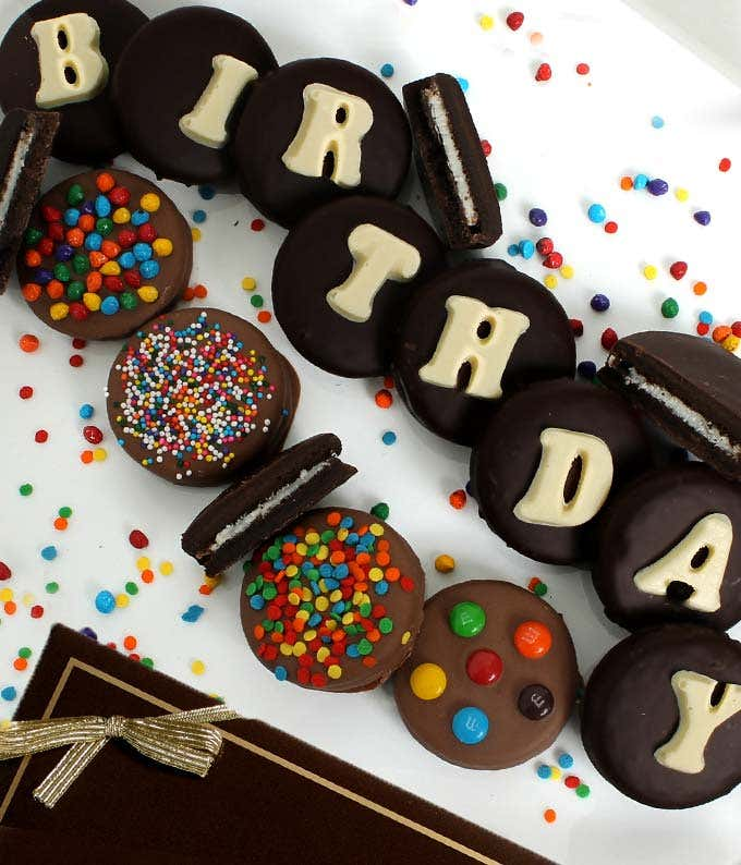 BIRTHDAY Belgian Chocolate Covered OREO® Cookies - 14 Pieces