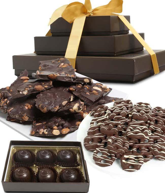 Sweet and Salty Dark Belgian Chocolate Gift Tower