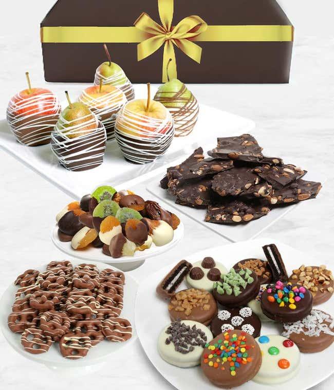 Grand Belgian Chocolate Covered Fruit Gift Basket