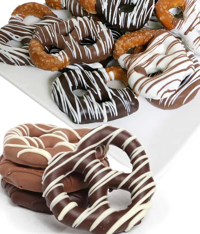 12 pc. Belgian Chocolate Dipped Pretzel Twists