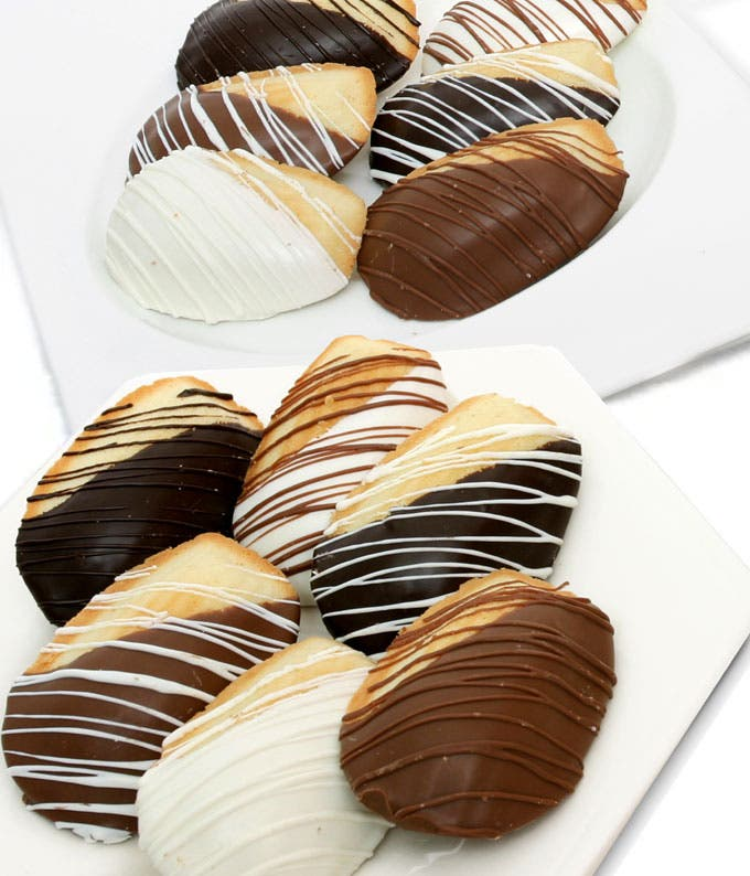Chocolate Dipped Madeleine Cookies