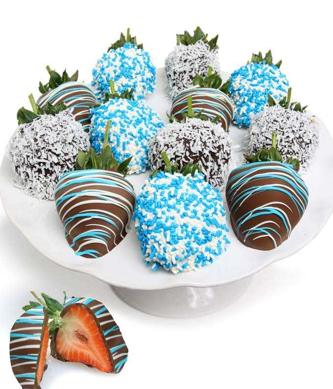 One Dozen Baby Boy Chocolate Dipped Strawberries