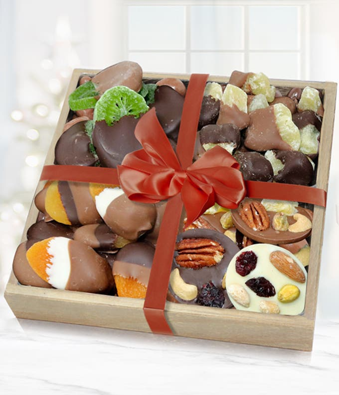 Luxury Belgian Chocolate Covered Dried Fruit Wooden Tray