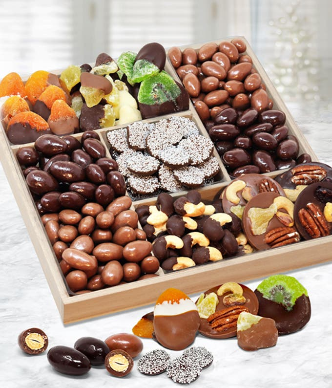 Spectacular Belgian Chocolate Covered Dried Fruit and Nut Tray