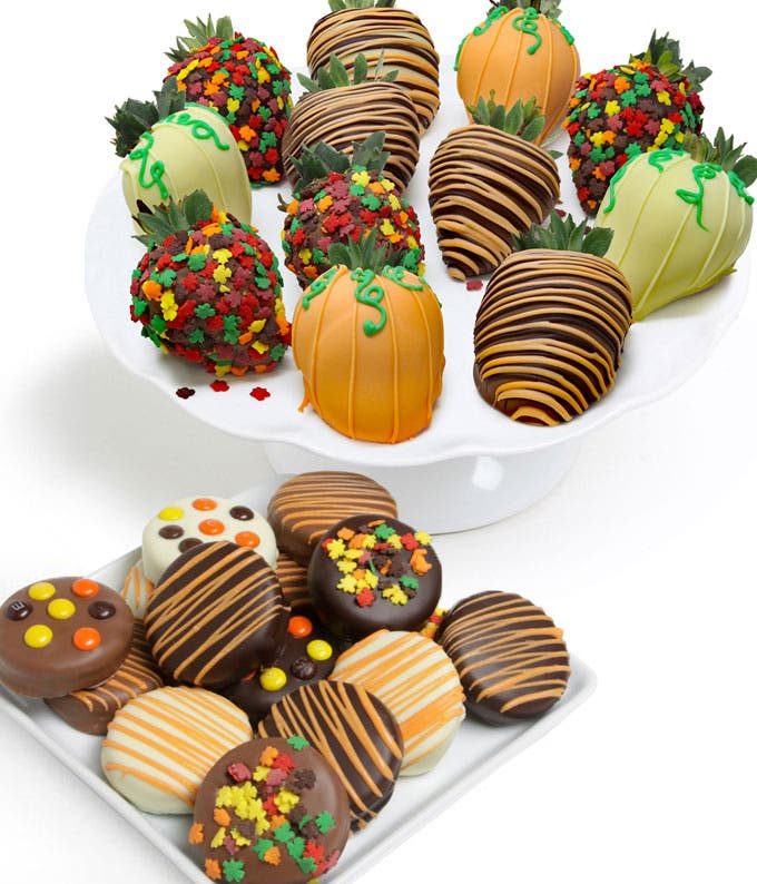 Fall themed chocolate covered strawberries and Oreos