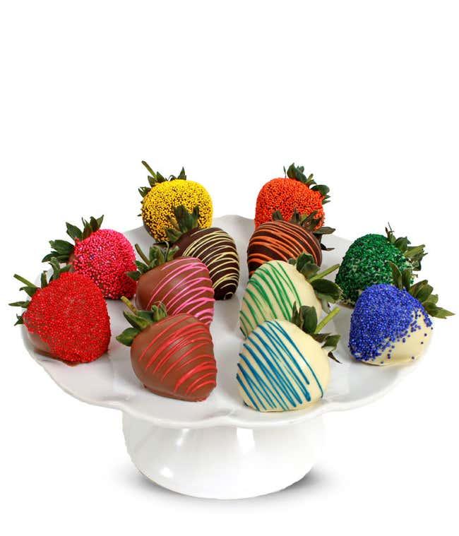 Rainbow Chocolate Covered Strawberries