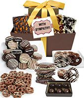 With Sympathy Chocolate Covered Gift Basket