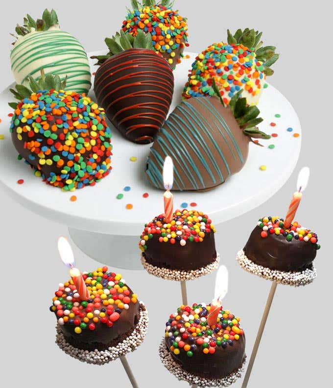Birthday brownie pops with chocolate covered strawberries