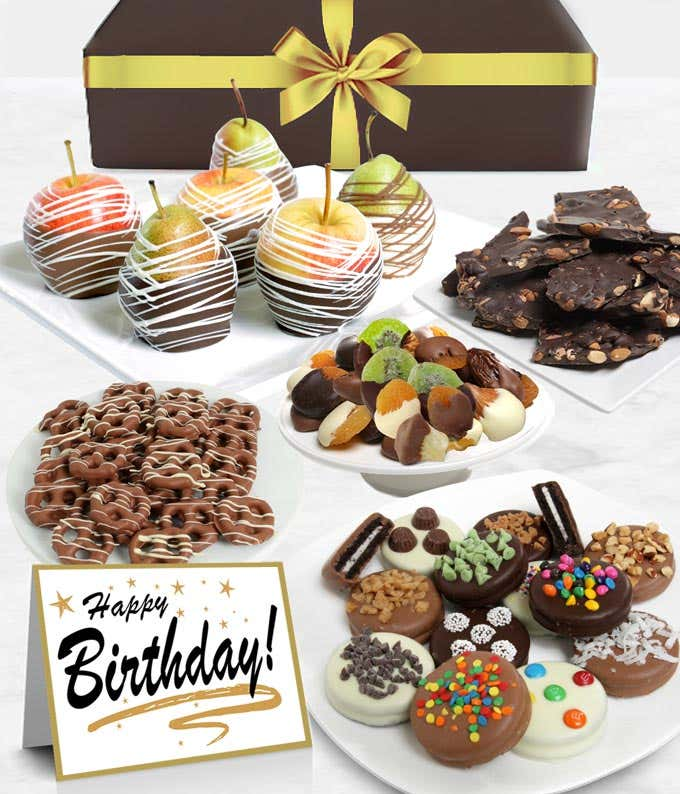 Happy Birthday Belgian Chocolate Covered Fruit Gift Basket