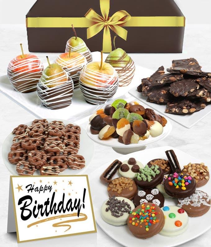 Happy Birthday Belgian Chocolate Covered Fruit Gift Basket