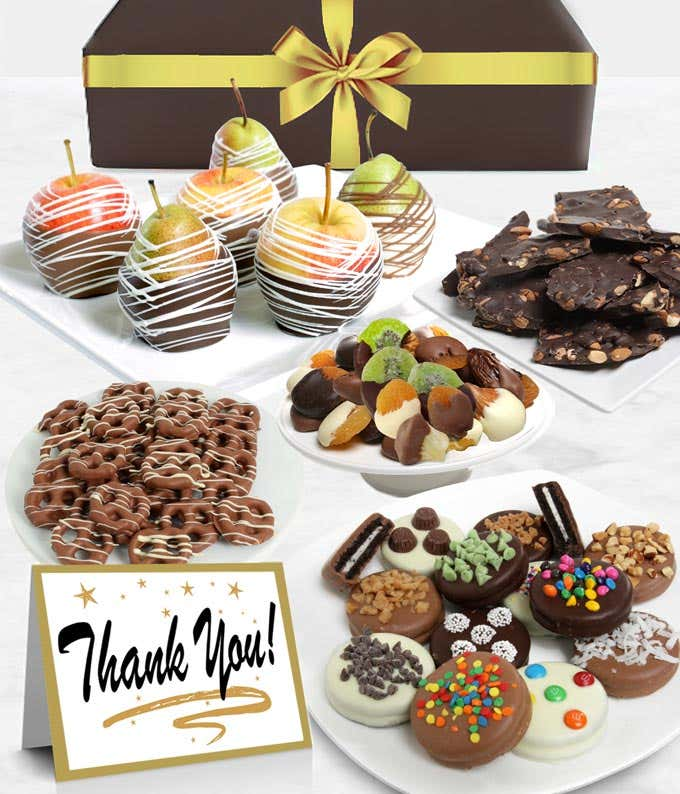 Thank You Belgian Chocolate Covered Fruit Gift Basket