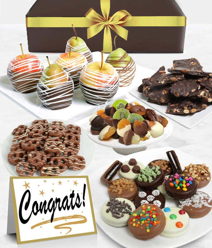 Congrats Belgian Chocolate Covered Fruit Gift Basket