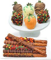 Thanksgiving Chocolate Covered Strawberries & Pretzels