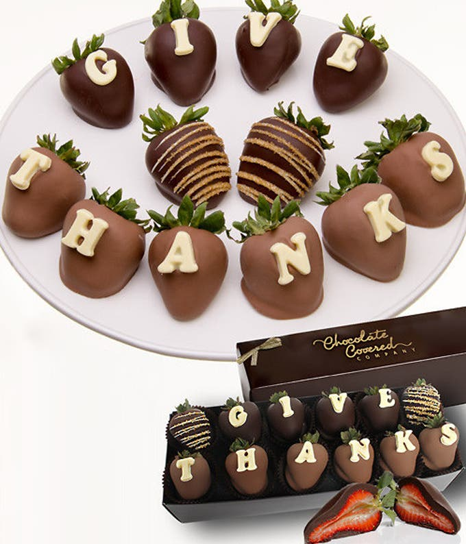 GIVE THANKS Chocolate Covered Strawberries - 12 Pieces