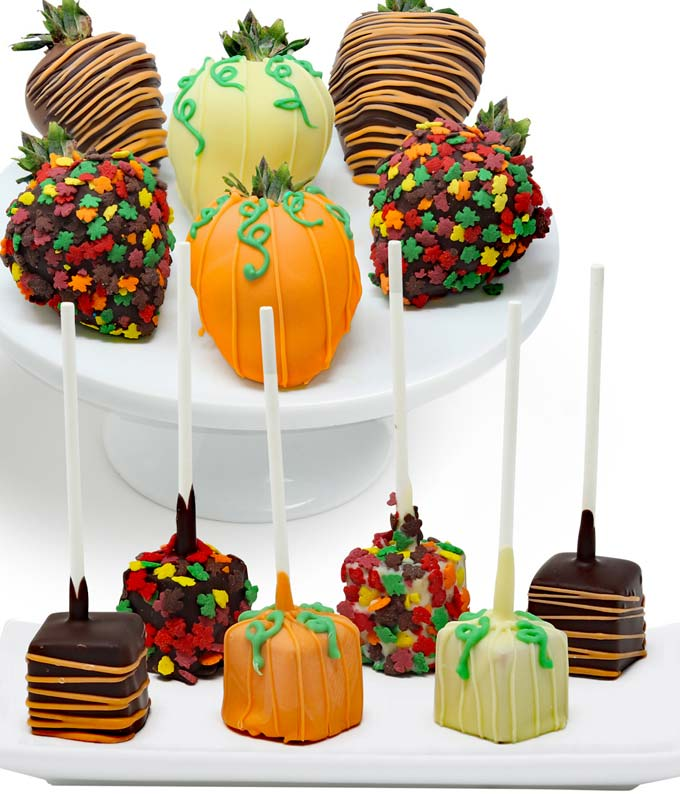 Fall cheesecake and chocolate dipped strawberries