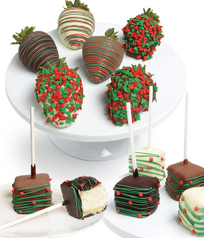 Christmas Chocolate Covered Strawberries & Cheesecake Pops