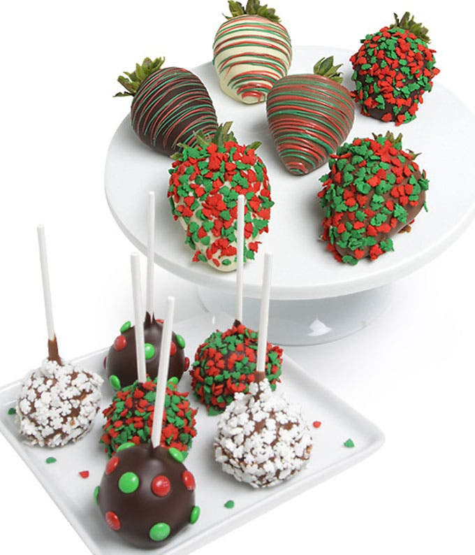 Christmas Chocolate Covered Strawberries & Cake Pops