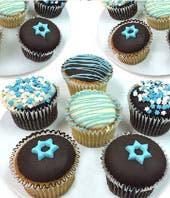 Hanukkah Belgian Chocolate Covered Cupcakes