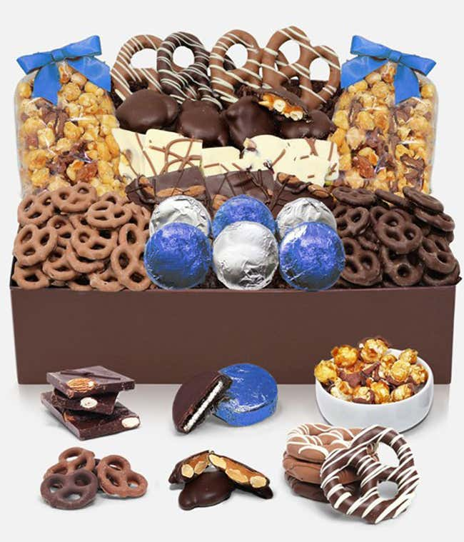 Winter Sensational Belgian Chocolate Covered Snack Tray Box