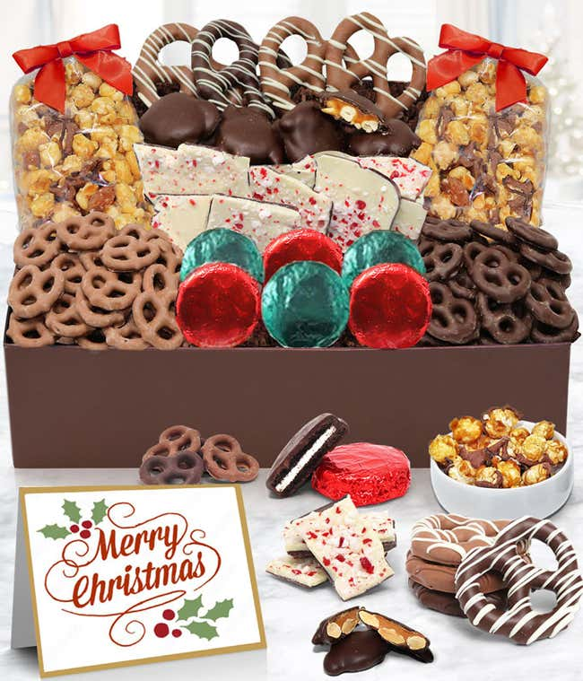 Merry Christmas Belgian Chocolate Covered Snack Tray Box