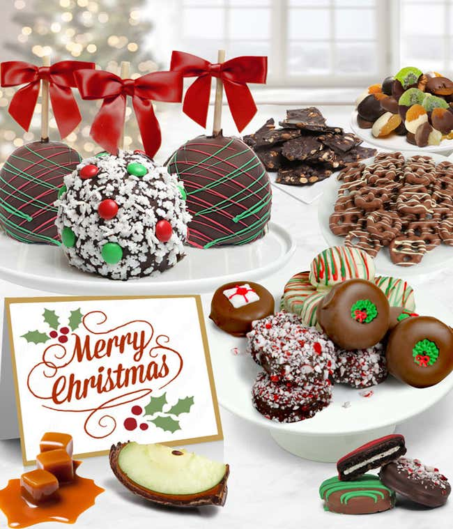 Merry Christmas Belgian Chocolate Covered Fruit Gift Basket